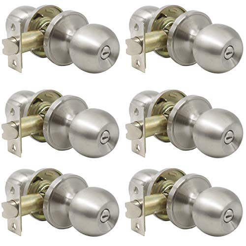 Probrico Privacy Interior Door Knobs Bed and Bath Handle Levers Keyless Brushed Nickel Lockset 6 Pack