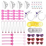 100 Pack - Princess Pretend Play Set - Costume Party Favors Dress Up for Girls - Tiaras, Fake Jewelry, Wands, Earrings, Bracelets