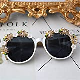 ASLIN Colorful Crystal Baroque Sunglasses Flower Lace, Ball &Party Decoration Sunglasses for Women & Girls Jewelry Gift (Size : S)