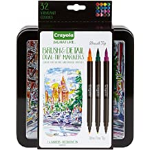 Crayola Brush Markers, Dual-Tip with Ultra Fine Marker, Decorative Storage Case, 32 Colors, 16 Count, Stocking Stuffer, Gift