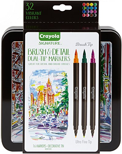 Crayola Brush Markers, Dual-Tip with Ultra Fine Marker, Decorative Storage Case, 32 Colors, 16 Count, Gift ()