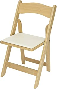 Rhino Series Wood Folding Chair (4 Pack) - Garden & Indoor/Outdoor Use - Perfect for Events, Weddings and Party Rentals - Durable, Storable, and Lightweight (Natural)