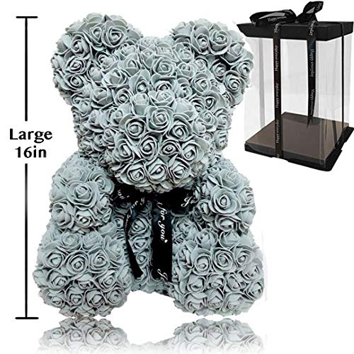 Rose Flower Bear - Trendiees Fully Assembled 16 inch Hugz Teddy Bear -Over 20 Dozen Artificial Flowers - Best Gift for Valentines Day, Anniversary, Birthdays & Bridal Showers (Grey) - w/Clear Gift Box