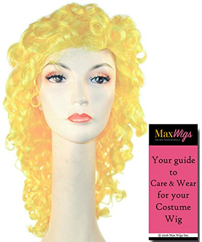 Wavy Disco Clown Color Yellow - Lacey Wigs Adult Long Wavy colorful Seventies Nightclub Bundle With MaxWigs Costume Wig Care Guide