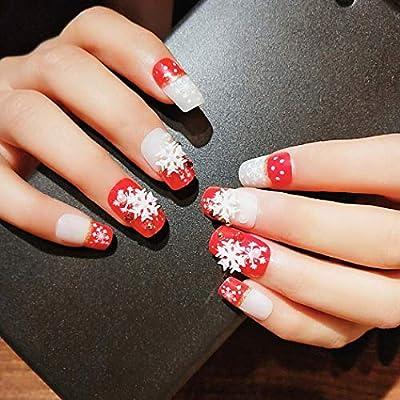 Jovono 24 uñas postizas de colores sólidos, copos de nieve rojos ...