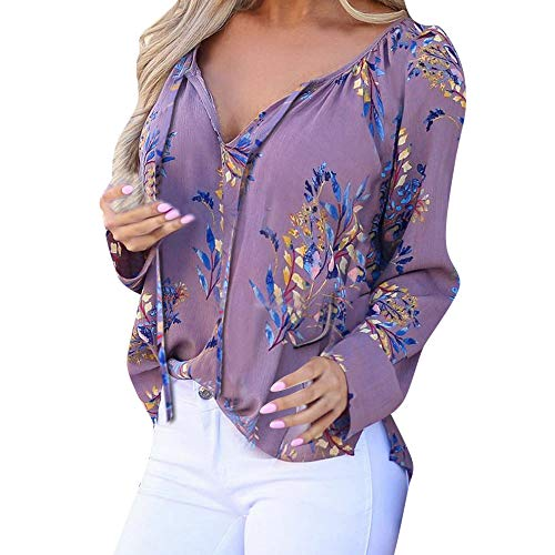 Womens Tops Hot Sale,DEATU Ladies Casual Long Sleeve Floral Printing Deep V Neck Shirts Blouse(Purple,XL)