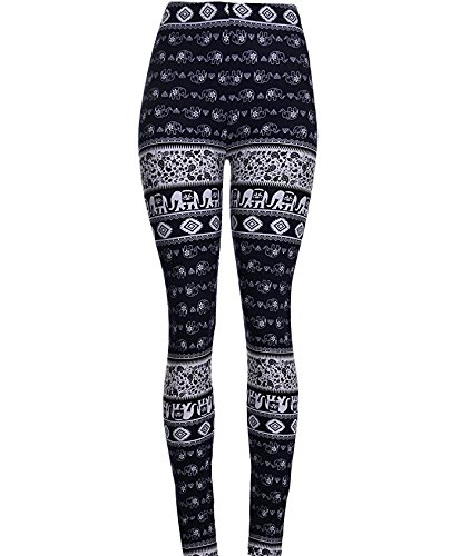 - H.coosy practical;cozy small elephant printed high elastic leggings plus cashmere trousers Dark blue S