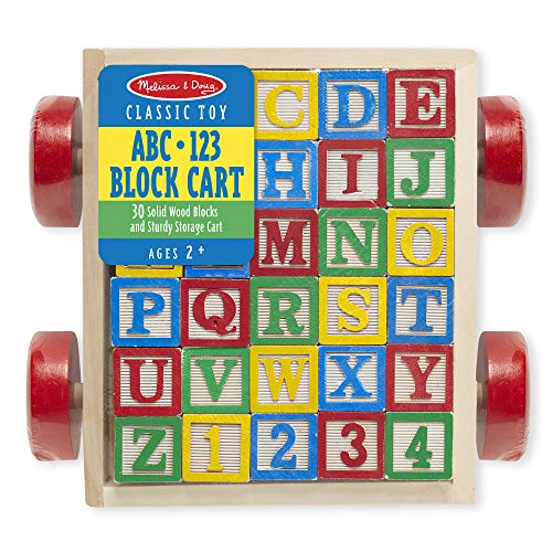 Melissa & Doug Classic ABC Wooden Block Cart (Educational Toy With 30 Solid Wood Blocks, Great Gift for Girls and Boys - Best for 2, 3, 4, and 5 Year Olds)