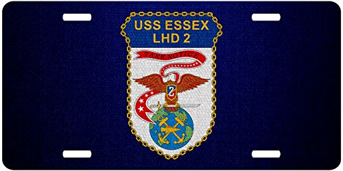 ExpressItBest Premium Aluminum License Plate - U.S. Navy USS Essex (LHD-2), amphibious assault ship emblem
