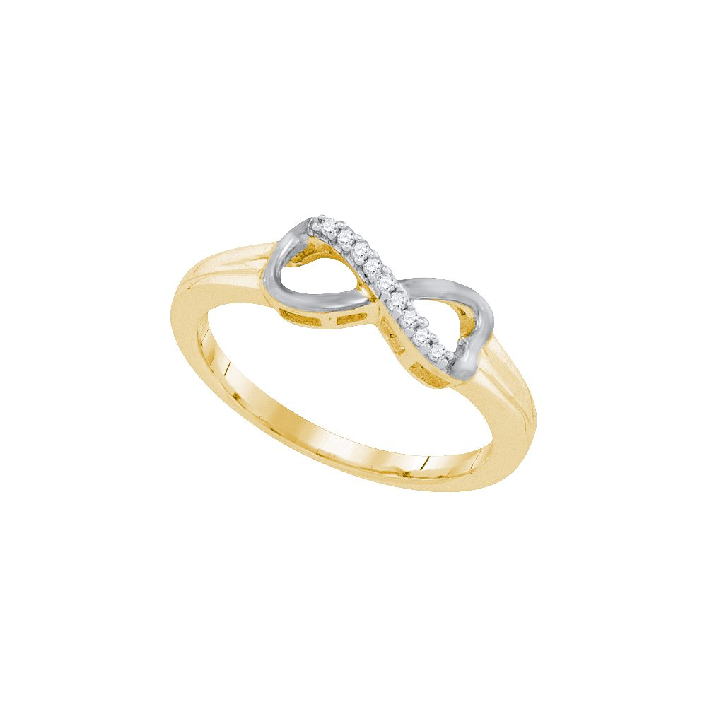 Size - 10 - 925 Sterling Silver Two Tone Gold-Plated Round White Diamond Channel Set Infinity Fashion Ring (.05 cttw)