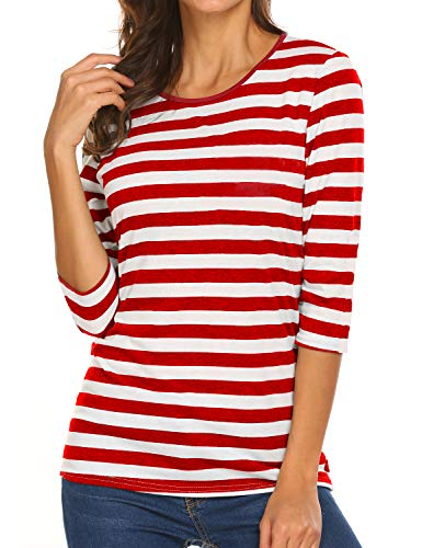 Sweetnight Womens 3/4 Sleeve Striped Shirt O-Neck Red and White Cute Fall Tops