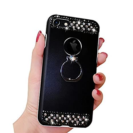Crystal Case For Iphone 7 PLUS/8 PLUS, Girlyard Bling Flash Glitter [Rose Floral] Flexible Back Case Diamond Rhinestone Anti-Scratch Case Cover with 360 Stand Ring Ball Ring Metal Buckle Pendant Tassels