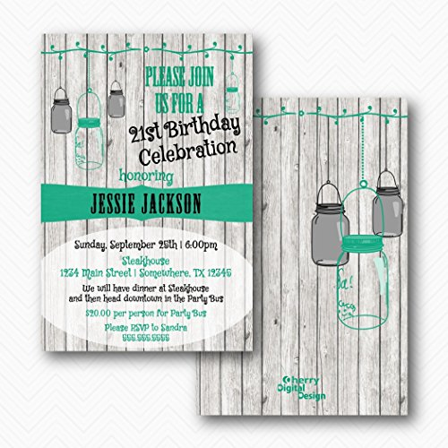 White Wood Rustic Mason Jar 21st Birthday Party Invitations | Envelopes Included -