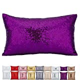 OniceDeco 1-Piece Home Decorative lightweight One Side Glitter Sequins Cushion Cover Throw Pillow Case Soft Pillow Covers Pillowcases Outdoor Indoor Covers Home Décor,Purple(30X50CM,12