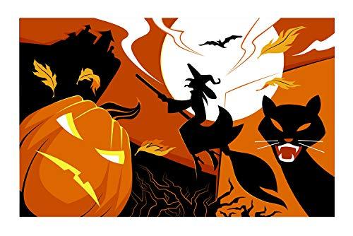 JANNINSE Orange Pumpkin Smiley Black Witch Silhouette Black Cat Halloween Castle Large Door Mat, Outdoor Door Mat Rubber Front Door Exterior Door Mat for Garage, Patio, High Traffic Area ()