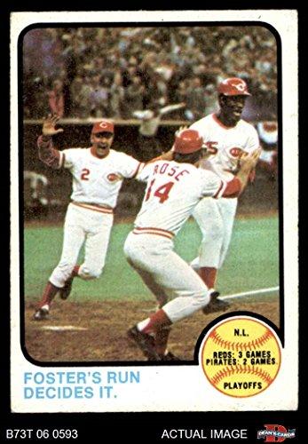 1973 Baseball (1973 Topps # 202 1972 NL Playoffs - Foster's Run Decides It George Foster / Pete Rose / Alex Grammas Cincinnati Reds (Baseball Card) Dean's Cards 4 - VG/EX Reds)