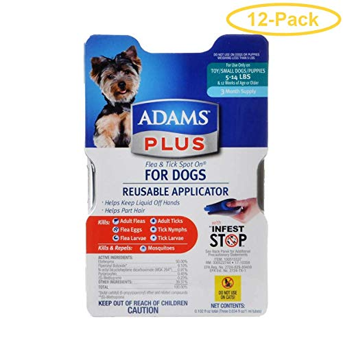 Adams Plus Flea & Tick Spot On for Dogs with Reusable Applicator Small Dogs - 3 Month Supply - (Dogs 5-14 lbs) - Pack of 12