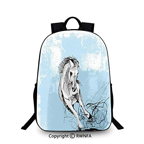 Backpack for Kids,Hand Drawn Sketch of Mare Artistic Display Freedom Speed Wildlife Decorative School Backpacks For boys Light Blue Silver - Wildlife American Display