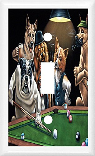 BB DOGS PLAYING POOL BILLIARDS GAME ROOM DECOR LIGHT SWITCH OR OUTLET COVER (Light Single)