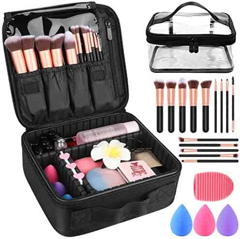 Makeup Travel Case, Makeup Case with DIY Adjustable Divider Cosmetic Train Bag 10.3