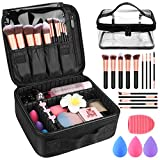 Makeup Travel Case, with DIY Adjustable Divider Cosmetic Train Bag 10.3' Organizer Perfect Set Contain 14pcs Premium Makeup Brushes 3 pcs Makeup Sponge Transparent Travel Bag Makeup Brush Cleaner