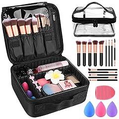 PackageMakeup train case*1Makeup brushes *14 pcsWater Drop Makeup Sponge*3Silicone scrubbing eggs*1  Transparent Travel Bag