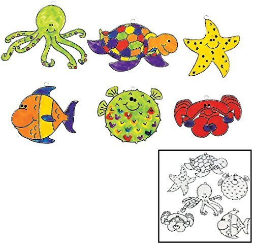 24 Paint Your Own Under the Sea Sun Catchers Kids Craft - octopus, star crab, turtle, blowfish and tropical fish (Globe Water Craft)
