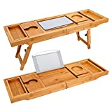 TILEMALL Bathtub Caddy & Laptop Bed Desk - 2 in 1, Bath Tray Built-in Stand for Books or Tablets, Bathtub Holder and Organizer with Smartphone and Wine Glass Holder, Tablet Holder