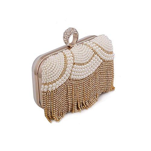 Evening Handmade Ladies Package Color Diamond 1 1 QEQE Women's Ladies Bag Pearl Clutch Chain 4wqwaFRx