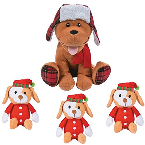 Santa Puppy (Cute Christmas Holiday Plush Puppy Dog Stuffed Animal Toy Gift Set Bundle - 1 Plaid Holiday Dog + 3 PJ Santa Hat Puppy Stocking Stuffers - Christmas Plush Animal)