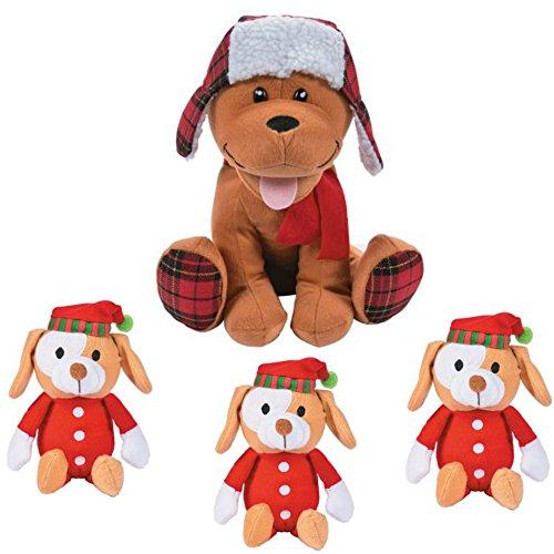 (The Old Blue Door Cute Christmas Holiday Plush Puppy Dog Stuffed Animal Toy Gift Set Bundle - 1 Plaid Holiday Dog + 3 PJ Santa Hat Puppy Stocking Stuffers -)