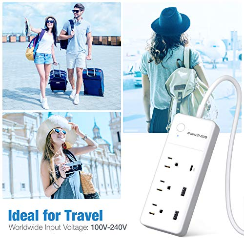 POWERADD Power Strip with USB C PD 20W for iPhone 12, 3 AC & 3 USB(30W), Overload Protection, 6ft Extension Cord Flat Plug for Cruise Travel, Home & Office - White