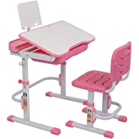 Kids Desk and Chair Set Height Adjustable Ergonomic Children Sturdy Table, Childs Study School Desk Kids Art Writing Desk, w/Pull Out Drawer Storage,Pencil Case,Bookstand Pink (Pink)