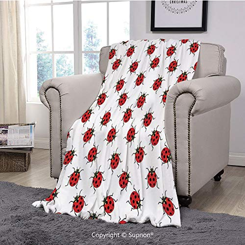 BeeMeng Printing Blanket Coral Plush Super Soft Decorative Throw Blanket,Ladybugs,Ladybugs Pattern Bunch of Bugs Infinite Speckled Marked Insect Theme Playroom Kids,Red White(59