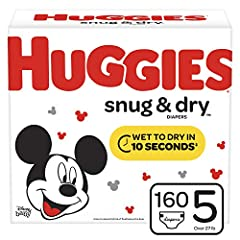Huggies Snug & Dry Diapers provide great protection at a great value, up to 12 hours day or night. Featuring our Leak Lock System & Quilted Liner, Snug & Dry baby diapers are made with four layers of protection that absorbs wetnes...
