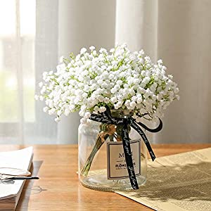 Nubry 10pcs Baby Breath/Gypsophila Artificial Fake Flowers Bouquets Baby Breath Bulk Flowers in White for Wedding Crown Home Party Garden Decoration 66
