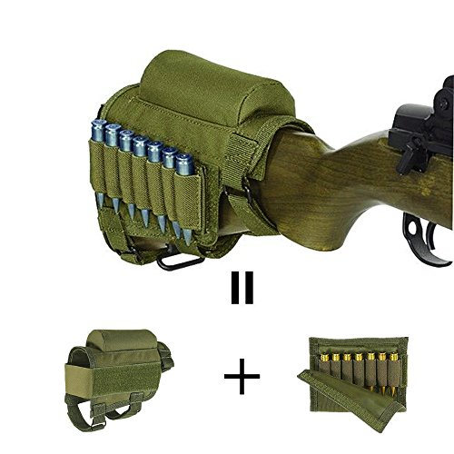 Adjustable Tactical Buttstock Rifle Cheek Rest Pouch Holder for .308 - .300winmag (Army Green) Buttstock Cover