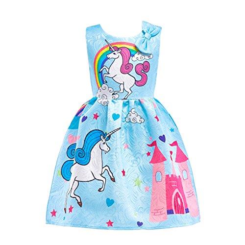 Dressy Daisy Girls My Little Pony Dress Costumes Rainbow Unicorn Costumes Fancy Dress up Size 4T Blue 126