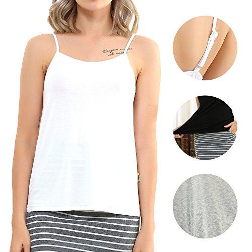 FITAB Women's Basic Camisole Tank TOP,Premium Modal by, Cami White Adjustable Spaghetti Strap,White,Grey,Black,1-3Packs