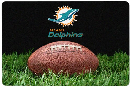 NFL Miami Dolphins Classic Football Pet Bowl Mat, (Miami Football Mat)