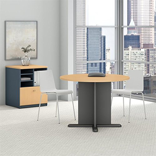 Bush Business Furniture 42''W Round Conference Table, Beech/Graphite Gray, Standard Delivery