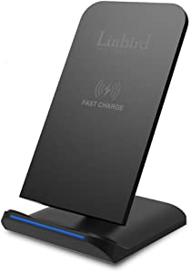 Wireless Charger, Linbird Qi Wireless Charging Stand Fast Charge Compatible with Samsung Galaxy S10/S9/S8/Note 8/9 Standard Charge iPhone Xr/Xs/X/8/8 Plus and More (AC Adapter NOT Included)
