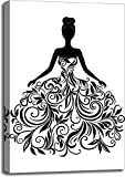 Vector Silhouette of Young Woman in Dress Gallery Wrapped Canvas Art (36 in. x 24 in.)