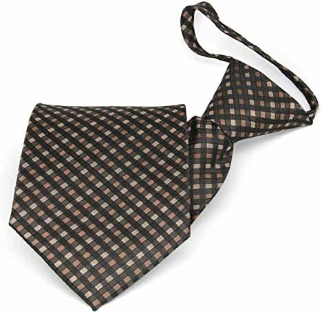 TieMart Light Brown George Plaid Zipper Tie