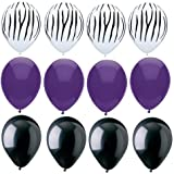ZEBRA Stripes PRINT Black PURPLE 12 Piece Latex Helium Party Balloons Kit Set