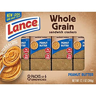 Lance Sandwich Crackers, Whole Grain Peanut Butter, 8 Ct Box Pack of 14