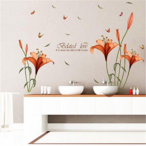 PlerD Orange Lily Wall Stickers Removable Decal Home Decor DIY Art Decoration Decorative Painting BedroomLiving room TV…
