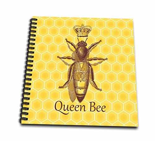 3dRose db_219442_1 Stately Queen Bee with Royal Crown Over Yellow Honeycomb Drawing Book, 8
