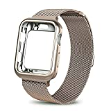 WEFU for Apple Watch Band with Case 38mm 42mm, Stainless Steel Mesh Milanese Loop with Adjustable Magnetic Closure Replacement Wristband iWatch Band for Apple Watch Series 3 2 1 (Gold, 38mm)