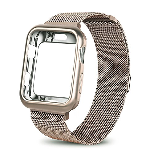 WEFU for Apple Watch Band with Case 38mm 42mm, Stainless Steel Mesh Milanese Loop with Adjustable Magnetic Closure Replacement Wristband iWatch Band for Apple Watch Series 3 2 1 (Gold, 38mm) by WEFU